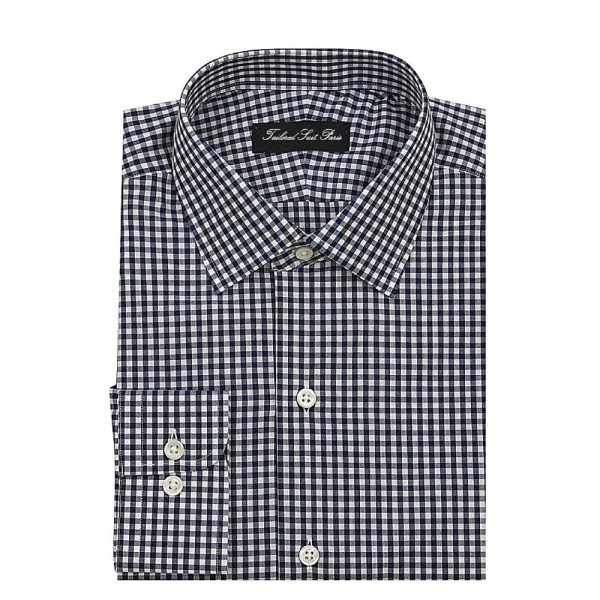 navy gingham dress shirt 1 600x600 Costumes, Chemises, Pantalons and Accessoires fill Homme