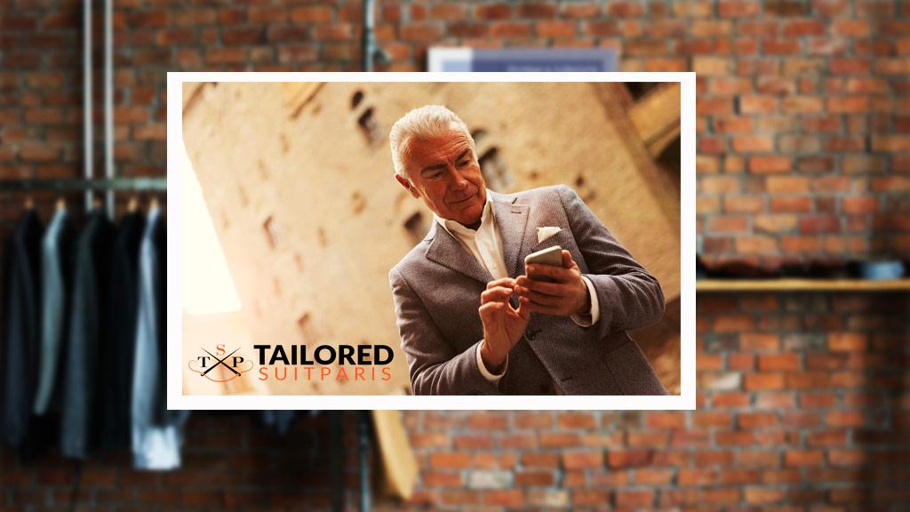Personnalisez un costume d'homme à partir de votre téléphone portable